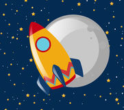 Rocket ride to the moon at night Royalty Free Stock Photography