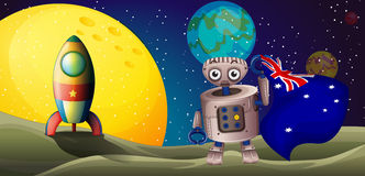 A rocket and a robot with the flag of Australia stock illustration
