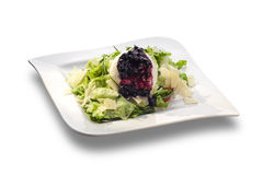 Rocket salad and cheese with blueberry sauce Stock Photos