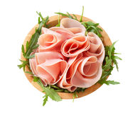 Rocket salad and sliced ham Royalty Free Stock Photography