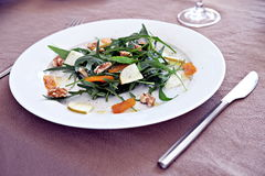 Rocket salad with walnuts, pear and bottarga Stock Photography
