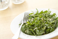 Rocket salad in white bowl on angle. Rocket and parmesan salad in a white bowl with blurred background Stock Photo