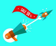 Rocket with sale tag launching from megaphone. Stock Photography