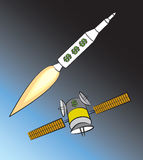 Rocket and Satellite Royalty Free Stock Photos