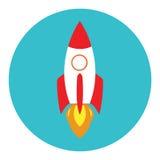 Rocket-Schiff in einer flachen Art Vektor-Rocket-Gebrauch auf Geschäftskonzept Lizenzfreies Stockbild