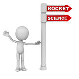 Rocket science. Concept, little man pointing to quite hard technological feat stock illustration
