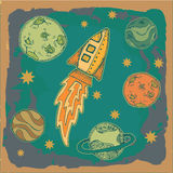 Rocket , science fiction cartoon childish illustration. Rocket and planets in outer space, science fiction cartoon childish illustration Royalty Free Stock Photos