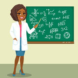 Rocket Scientist Woman. Beautiful young African American rocket scientist woman pointing mathematics formula on blackboard royalty free illustration