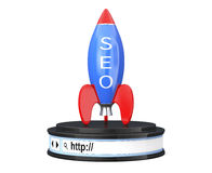 Rocket with SEO Sign over Browser Address Bar as Round Platform Stock Photography