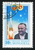 Rocket and Sergey Koroljov. MONGOLIA - CIRCA 1981: stamp printed by Mongolia, shows rocket and Sergey Koroljov, circa 1981 Stock Image