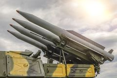 Rocket Set Against A Dramatic Sky. Royalty Free Stock Images