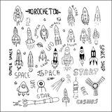 Rocket set hand drawn Stock Images