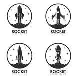 Rocket. Set of logo templates with rocket launch. Royalty Free Stock Image