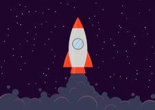 Rocket ship. A cartoon rocket ship blasting off into space Stock Image