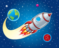 Rocket Ship Blasting From Earth. Cartoon illustration of a retro looking rocket ship blasting from earth and going through outer space with stars, planets and Stock Images