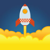 Rocket Ship Blasting Off From The Ground. Vector illustration Stock Photos