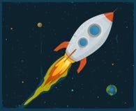 Rocket Ship Blasting Through Space. Illustration of a rocket ship flying through outer space Royalty Free Stock Photography