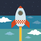 Rocket Ship Blasting To Outer Space. Vector illustration Royalty Free Stock Photography