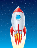 Rocket Ship blasting Up Through Space. Illustration of a rocket ship blasting up and going through outer space with stars in the background Stock Photography