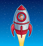 Rocket Ship Boy. Cartoon of boy looking outside a window of a retro looking rocket ship that is blasting up and into outer space Stock Photo