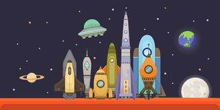 Rocket ship in cartoon style. New Businesses Innovation Development Flat Design Icons Template. Space ships. Illustrations set Stock Images