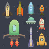 Rocket ship in cartoon style. New Businesses Innovation Development Flat Design Icons Template. Space ships Stock Photos