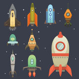 Rocket ship in cartoon style. New Businesses Innovation Development Flat Design Icons Template. Space ships. Illustrations set Royalty Free Stock Image