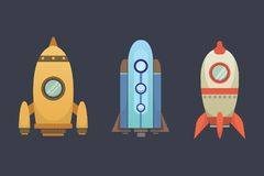 Rocket ship in cartoon style. New Businesses Innovation Development Flat Design Icons Template. Space ships. Illustrations set Royalty Free Stock Photography