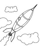 Rocket ship coloring page Royalty Free Stock Images