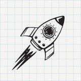 Rocket ship doodle icon. Spaceship hand drawn sketch in vector stock illustration