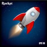Rocket Ship Ejemplo del vector con el cohete del vuelo 3d Viaje espacial a la luna Lanzamiento del cohete de espacio El proyecto  ilustración del vector