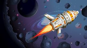 Rocket ship firing with space background. Rocket ship firing over space background vector illustration