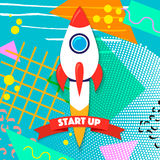 Rocket ship in a flat style. Project start up and development process. Innovation product,creative idea. Management. Royalty Free Stock Image