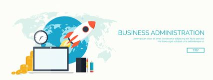 Rocket ship in a flat style.Vector illustration with 3d flying .Space travel to the moon. launch.Project start up and. Rocket ship in a flat style.Vector vector illustration