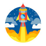 Rocket Ship Flying in Cirkel Vector Stock Foto