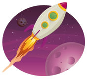 Rocket ship Flying In Space. Illustration of a rocket ship flying through outer space among planets and stars stock illustration