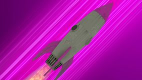 Rocket ship flying through space animation. Pink diagonal anime speed lines. Space motion background stock illustration