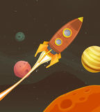 Rocket Ship Flying Through Space Stock Photo