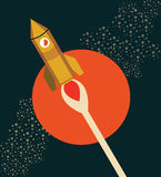 Rocket Ship Flying Through Space retro Imagen de archivo libre de regalías