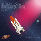 The rocket ship flying in the space. Spaceship background.  Stock Photo