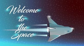 The rocket ship flying in the space Stock Photo