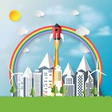 Rocket ship icon with city background paper art style. Nature landscape and business start up concept design.Vector illustration Royalty Free Stock Photography