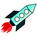 Rocket ship  illustration. Space ship icon in flat style. Rocket ship  illustration. Space ship icon in flat style eps10 Stock Photo