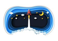 Rocket ship launch icon paper art style royalty free illustration