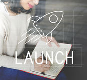 Rocket Ship Launch Graphic Concept stock images