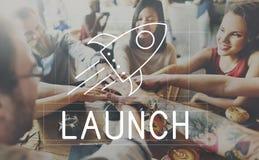 Rocket Ship Launch Graphic Concept Stock Images
