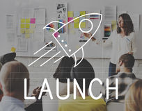 Rocket Ship Launch Graphic Concept stock photography