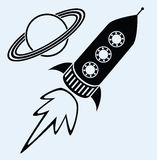Rocket ship and planet saturn symbols Royalty Free Stock Photo