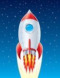 Rocket Ship que arruina para arriba a través de espacio Fotografía de archivo