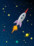 Rocket ship in space Royalty Free Stock Image
